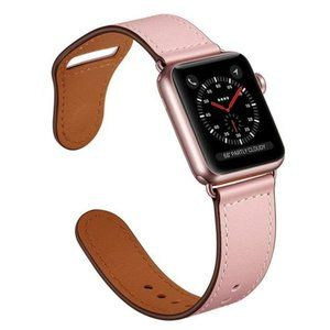 NEW PINK Genuine Leather Band For Apple Watch